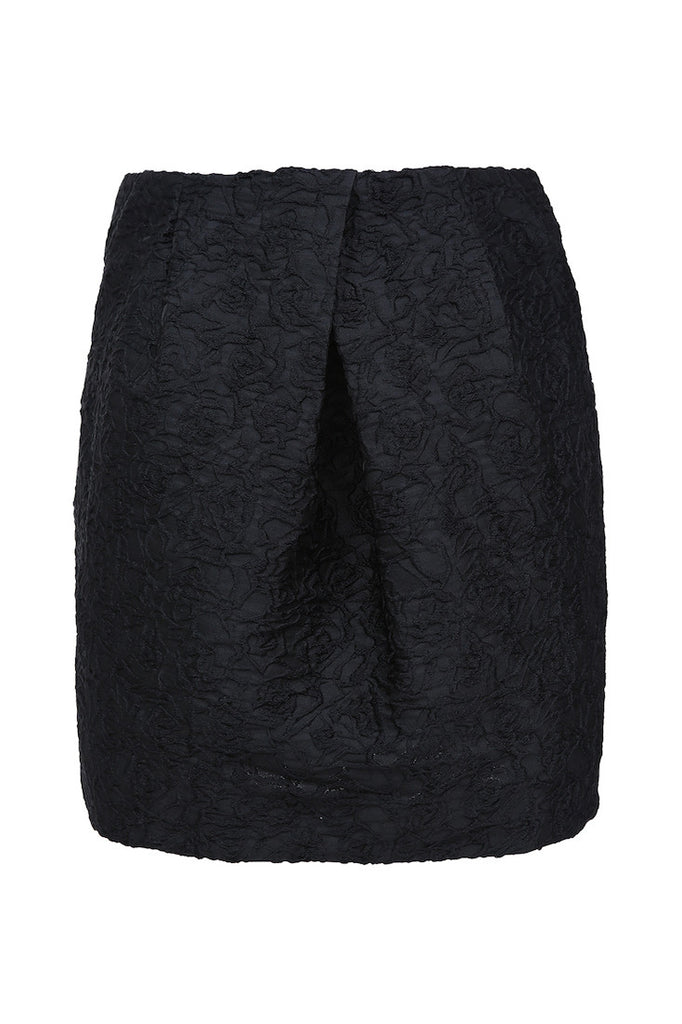 Black skirt with floral lace pattern