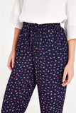 Relaxed fit trousers with ditsy-fan print
