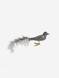 Grey Velvet Bird With Clip