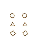 Brooke Geo 3 Pack Studs Gold