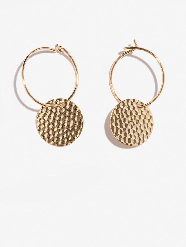 Gold Hammered Coin Earrings