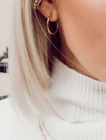 Chunky Mid Size Hoop Earrings Gold