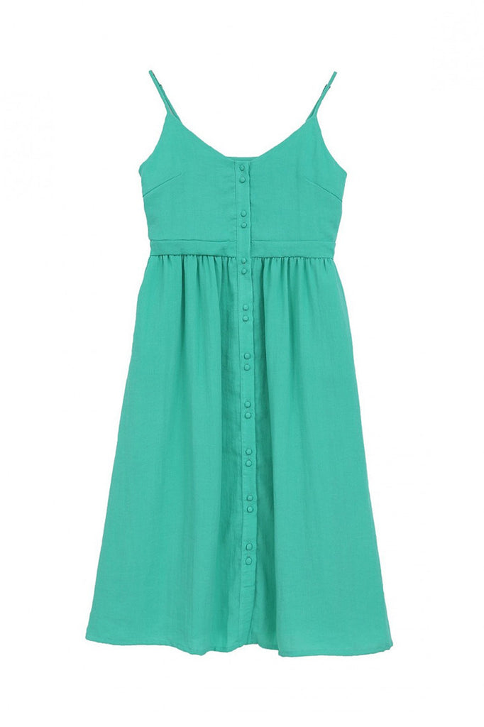 Green Button Strappy Dress