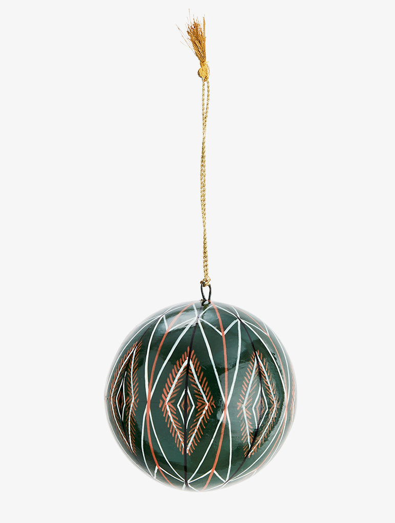Papier Mache Ball With Handpainted Pattern Green,Black,White,Gold