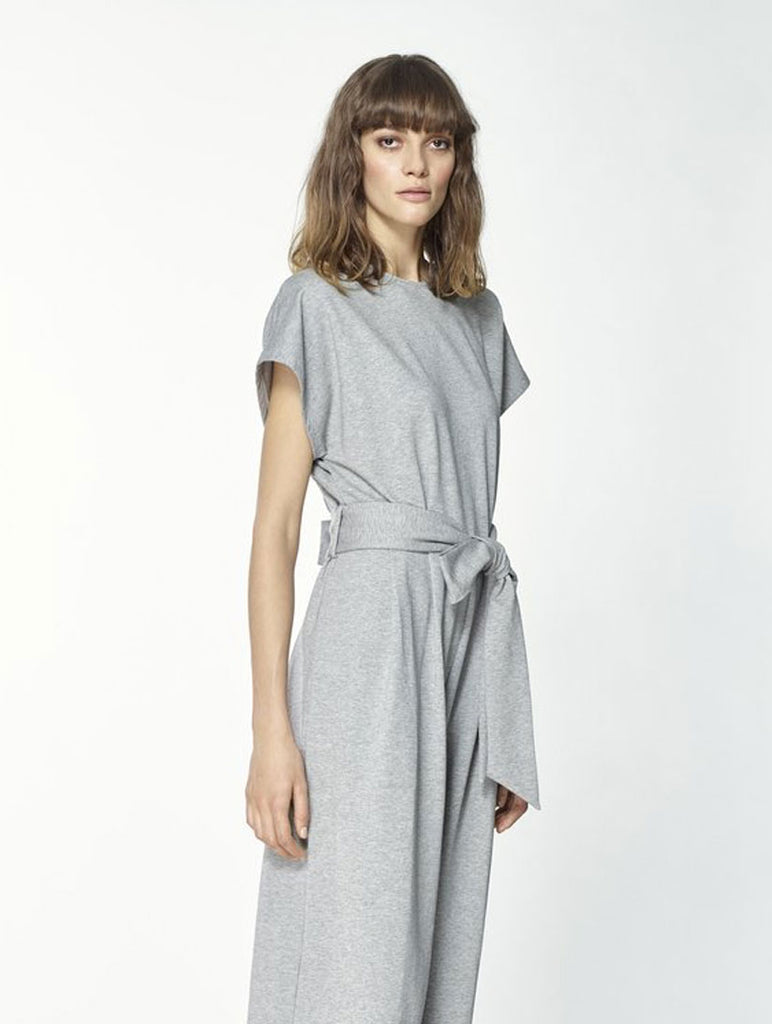Cropped Grey Jersey Jumpsuit