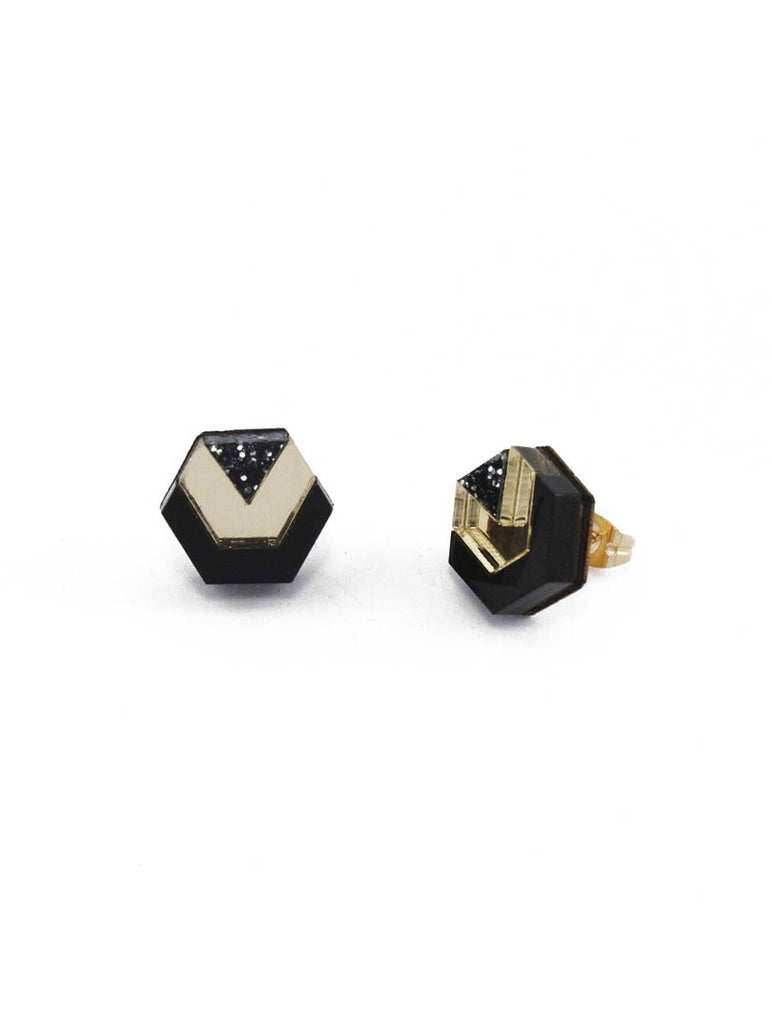 Little Hex Studs Black and Gold Glitter