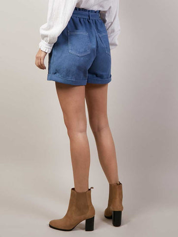 Blue Denim Shorts With Tie Belt