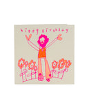 Handprinted Card Hippy Birthday