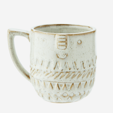 Stoneware Mug with Face White