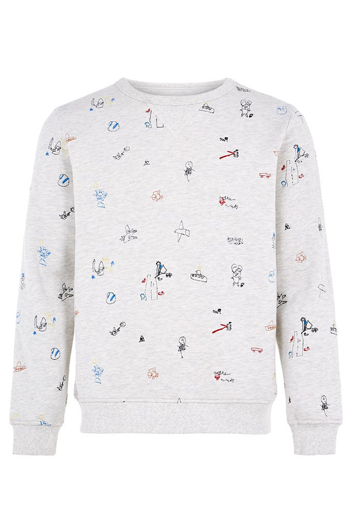 Hymn marl cotton sweatshirt with embroidered kids motif
