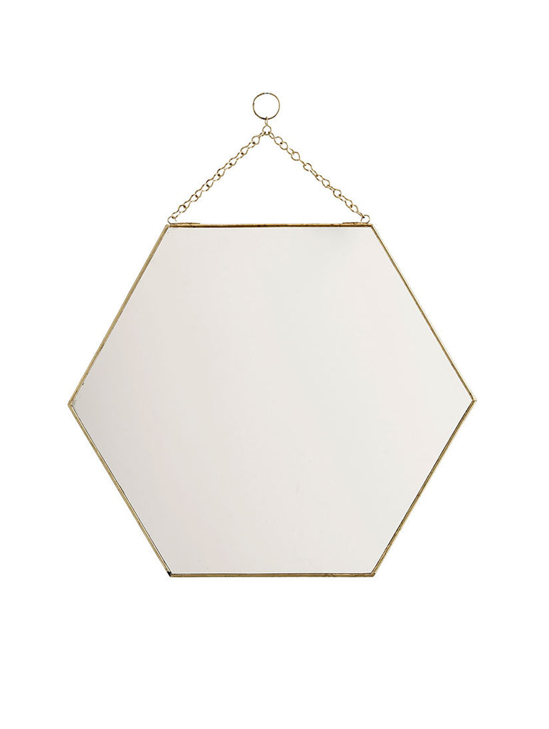 Hexagonal Mirror Brass