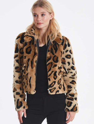 Ibi Faux Animal Print Cropped Jacket