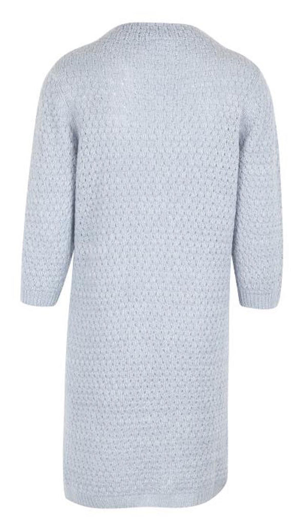 Dusty blue hole knitted dress