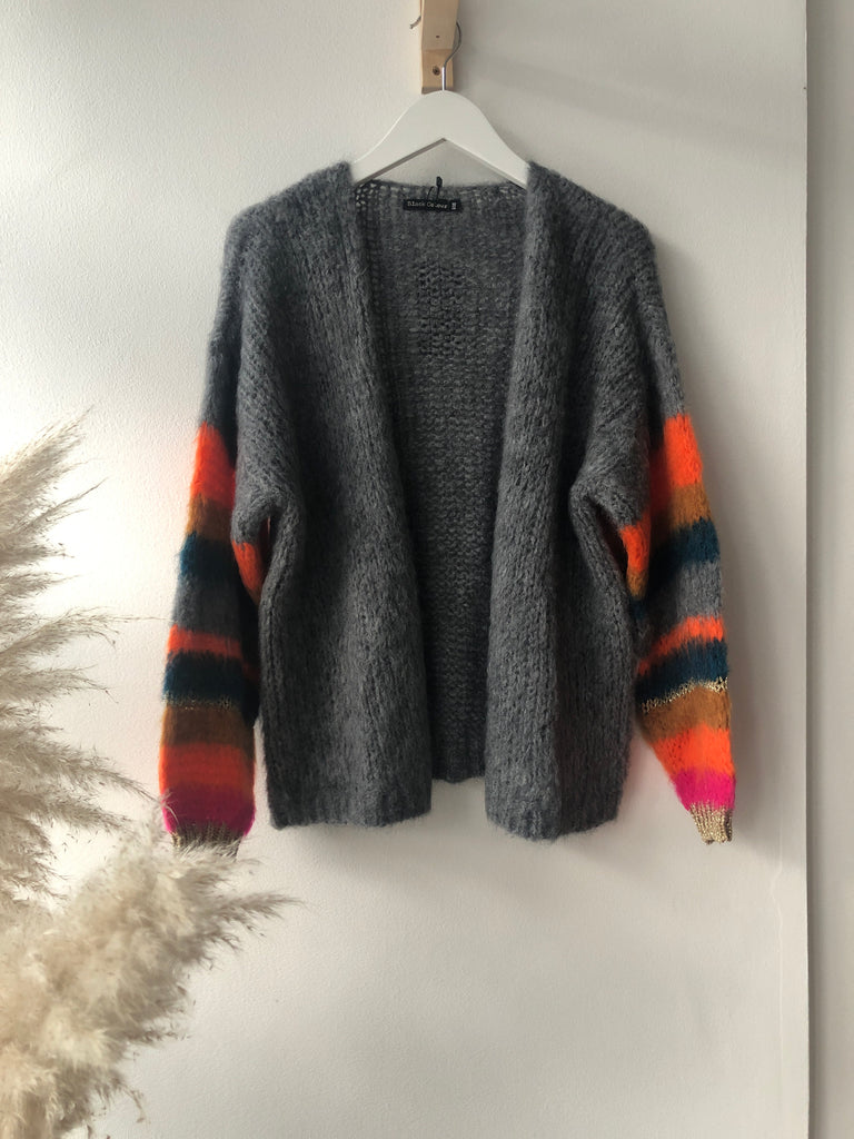 Hera Brushed Knit Cardigan Grey