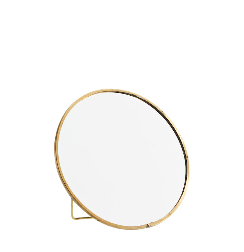 Round Standing Mirror Antique Brass