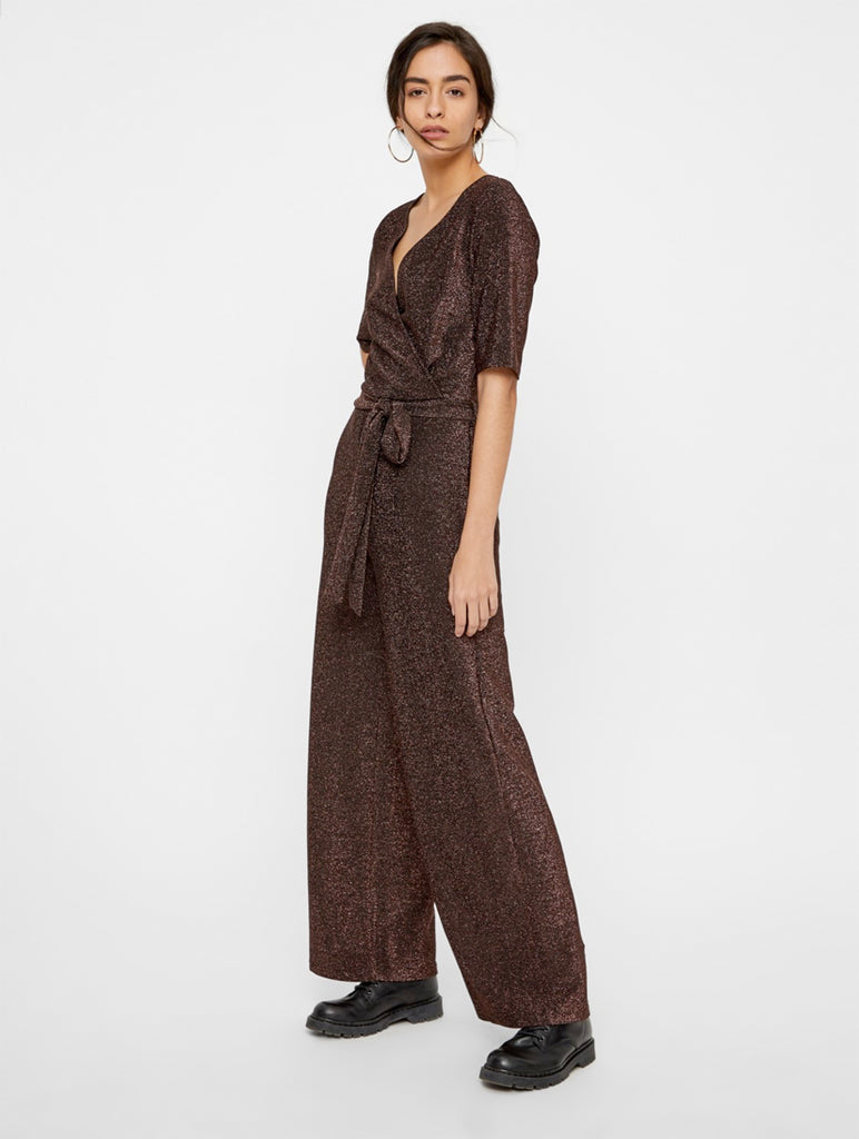 Infina 2/4 Jumpsuit Black and Rust Sparkle
