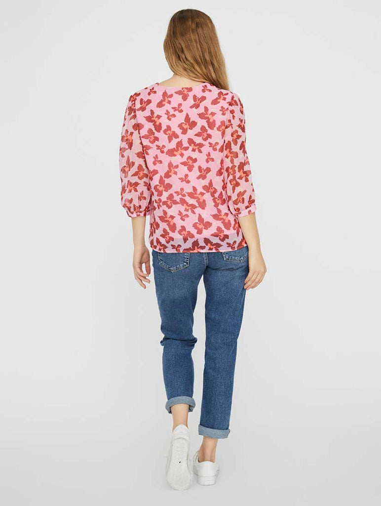 Iris V Neck Floral Top Rosebloom