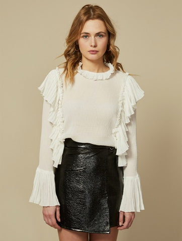 Zoey Ivory High Neck Ruffle Long Sleeve Top
