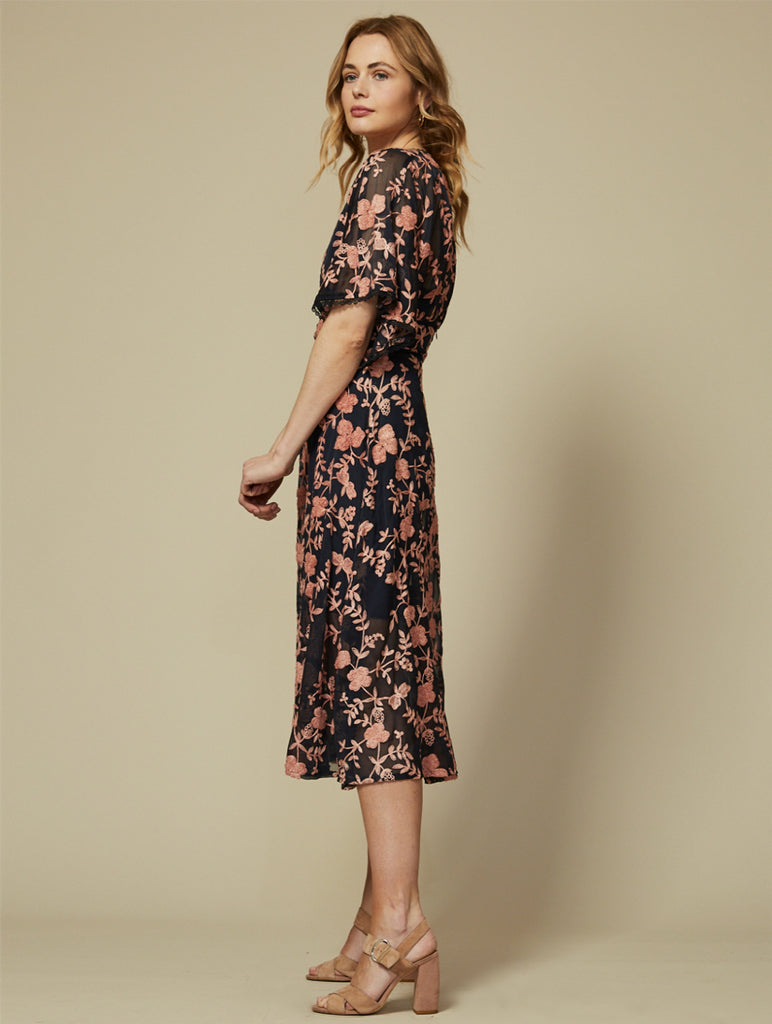 Jasmina Navy Blue Dress With Pink Floral Embroidery