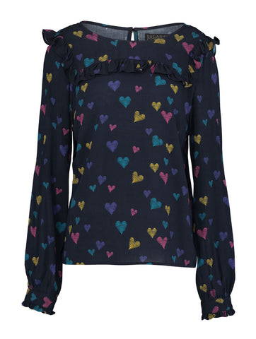 Jessie Scribble Hearts Frill Top