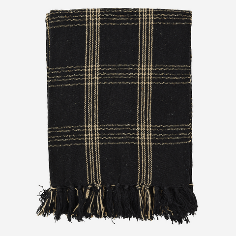 Checked Woven Throw with Fringes Black