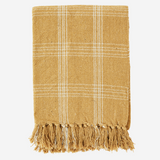 Checked Woven Throw with Fringes Honey