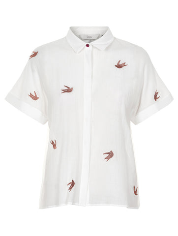 Jocelynn Bird Embroidered Short Sleeve Shirt White