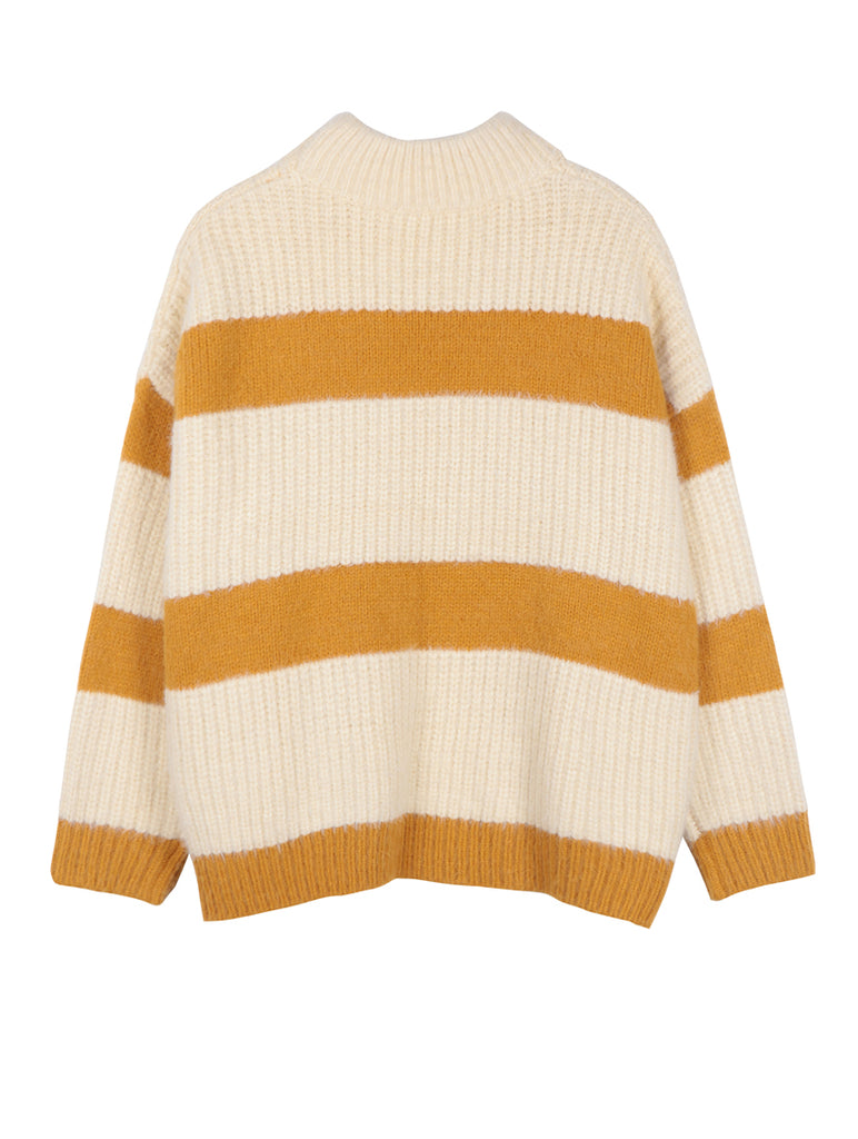 Pull Stripe Jumper White and Yellow