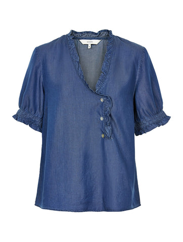 Kalliope Short Sleeve Blouse Dark Blue Denim