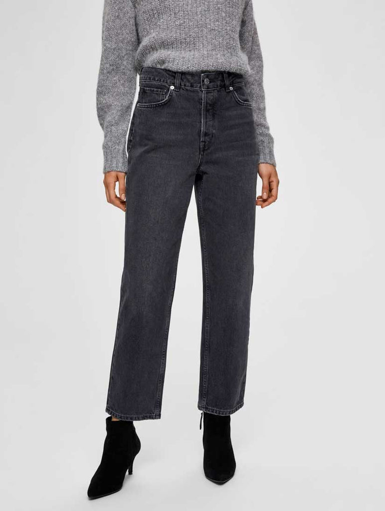 Kate High Waist Straight Jeans Grey Stone