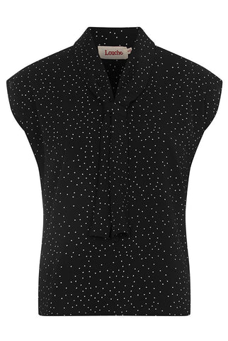 Kaykay Dotty Neck Tie Blouse