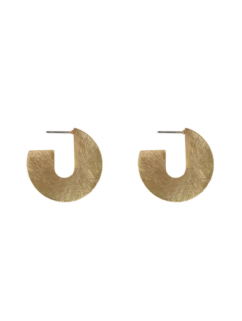 Kikki Scratched Metal Abstract Earrings