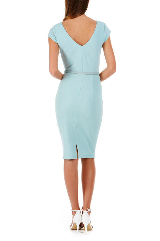 Kirsty Textured Ponte Dress - Dusky Green