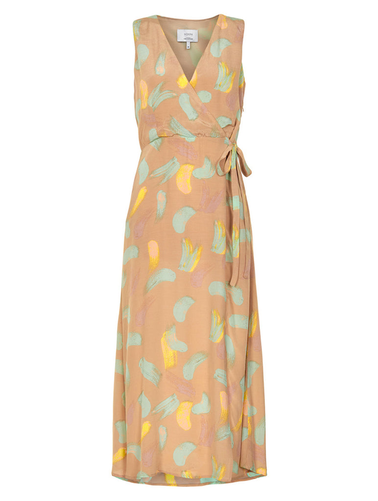 Kyla Wrap Front Tie Maxi Dress Sesame