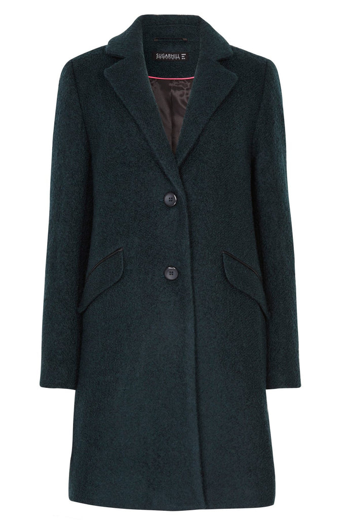 Sugarhill Boutique Layla textured green wool coat