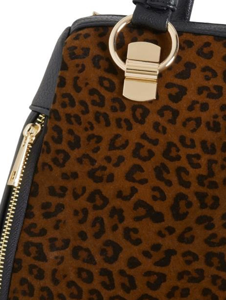 Leo Black And Leopard Print Bag