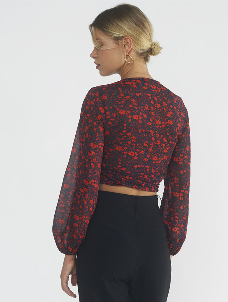 Liandra Red Flowers on Black Wrap Top