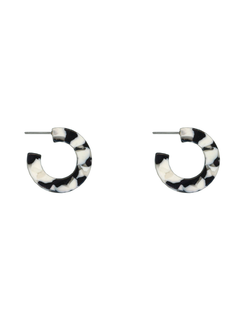 Libby Black and White Resin Hoop Earrings