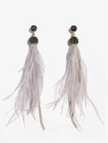 Lilac Feather Drop Earrings