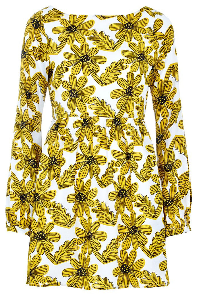 Louche crepe feel dress with yellow and black floral print