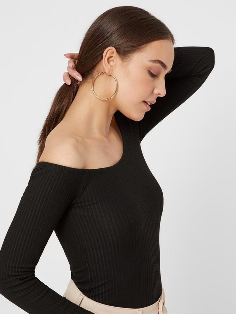 Maya Off Shoulder Long Sleeve Black