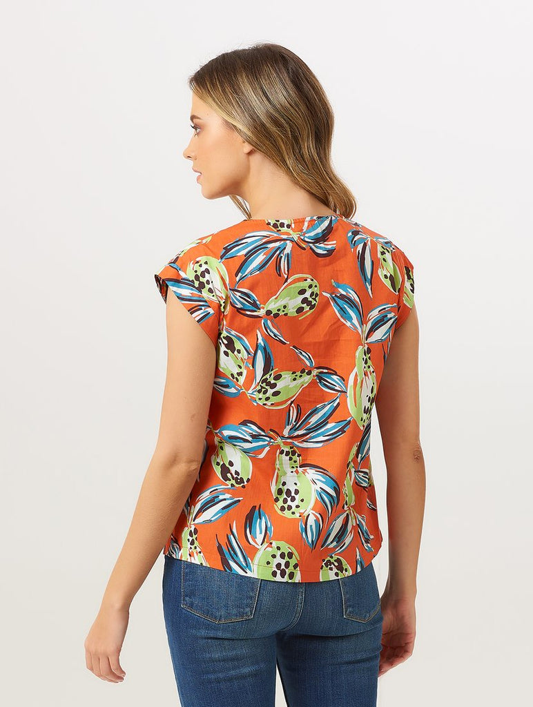 Megan Tropical Punch Shirt Orange Multi