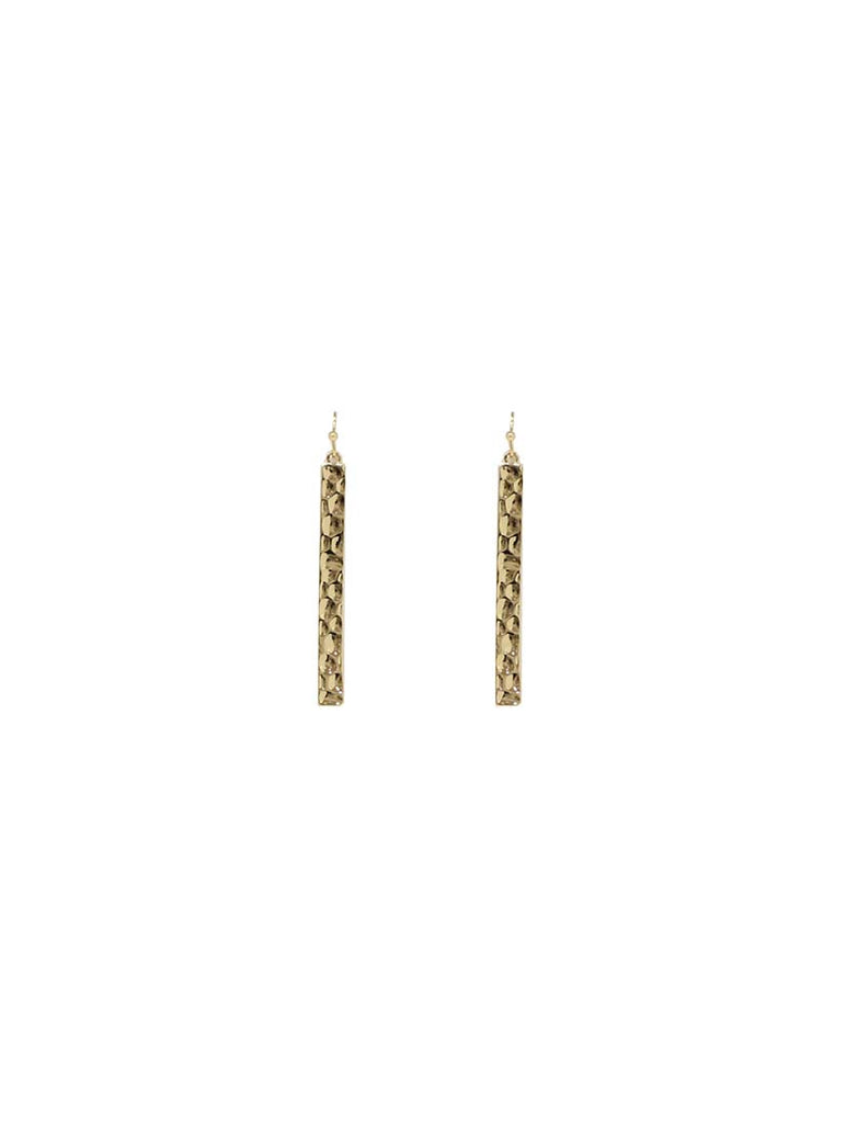Mira Beaten Metal Earrings Gold