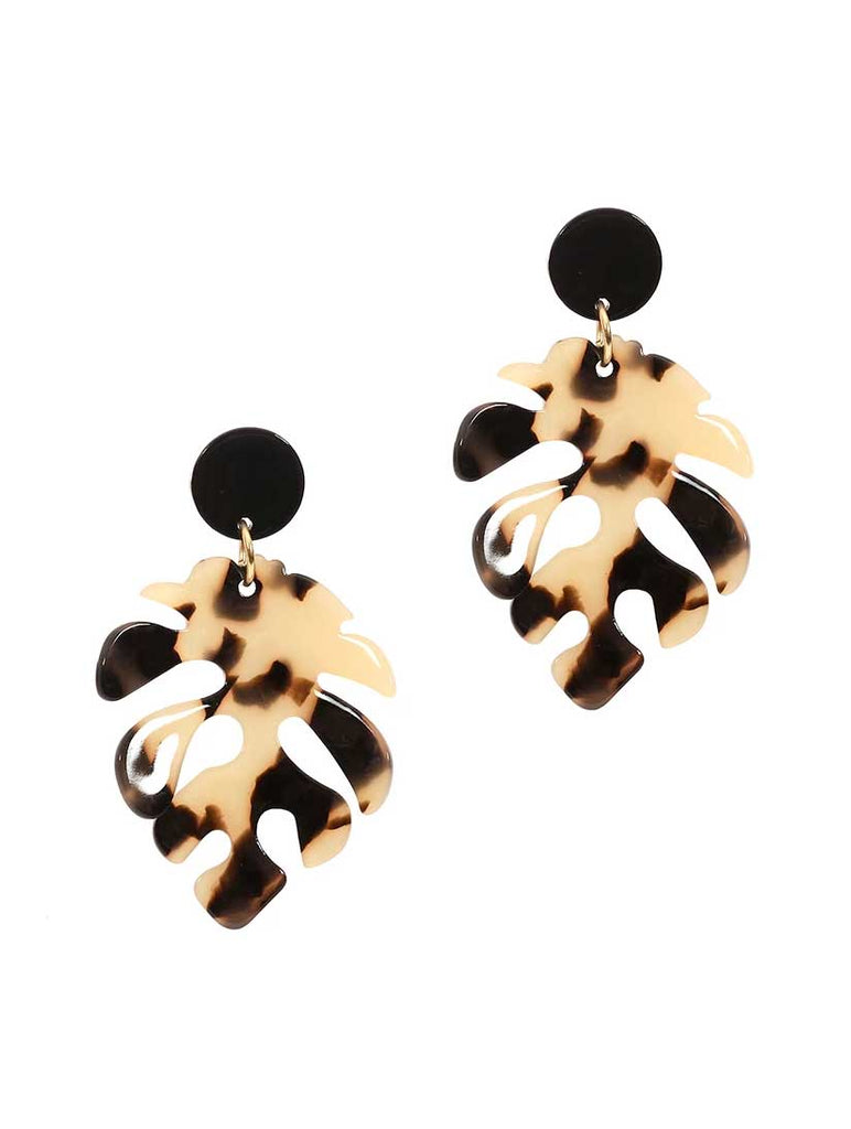 Monstera Leaf Earrings Beige