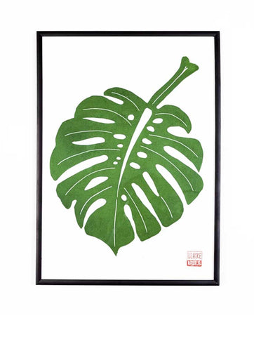 Ulrike Lino Print 'Monstera Leaf'