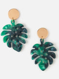 Resin Palm Leaf Coin Drop Earrings Green