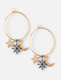 Moon and Star Charm Hoop Earrings