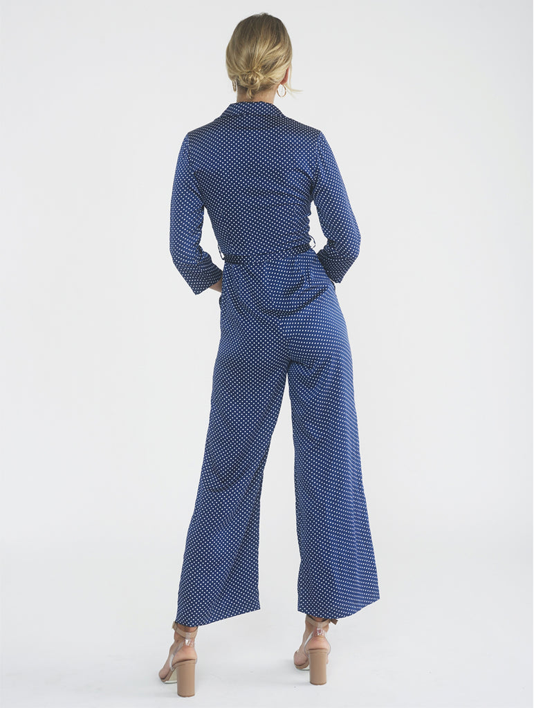 Mower Navy Jumpsuit with Ivory Dots