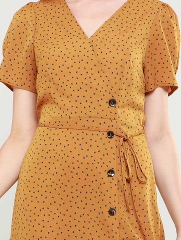 Nina Mustard Button Through Dress