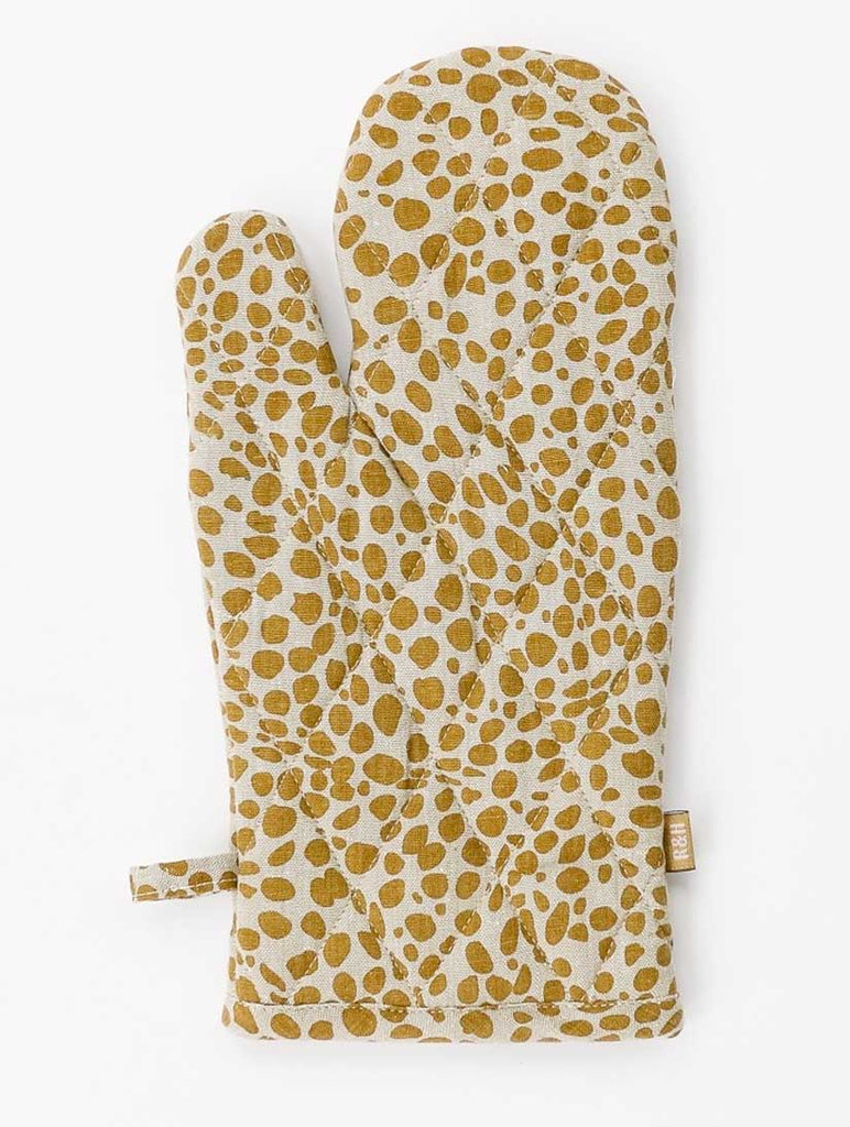 Animal Print Single Oven Glove Mustard